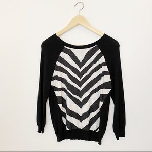 Express Mixed Material Zebra Print Sweater Size S